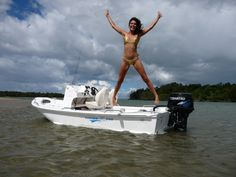 Hot baby jump on my fishing boat
