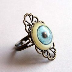 filligre goth | Blue Eye Ring Filigree Neo Victorian Goth | PoppysGardenGate - Jewelry ...