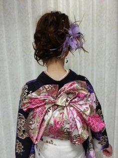 帯結び Kimono Japan, Yukata Kimono, Japanese Kimono, Kimono Top, Japanese Outfits, Japanese Fashion, Obi One, Kabuki Costume, Geisha Japan