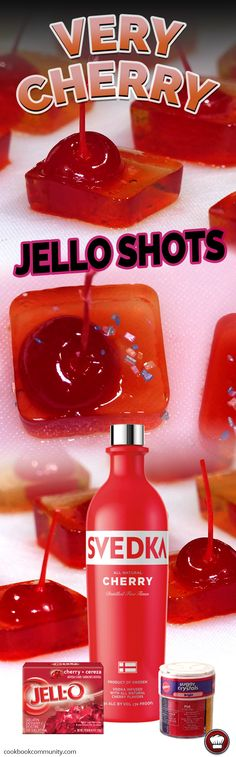 VERY CHERRY VODKA JELLO SHOTS - These things are the cherriest cherry jello shots you're likely ever to have.. like a cherry coughdrop, but with booze!