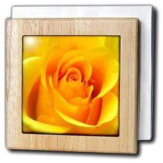 3dRose Yellow Rose, Tile Napkin Holder, 6-inch