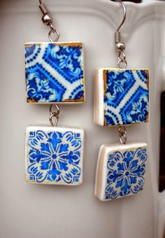 Portugal  Antique Tile Replica Earrings  DEEP ROYAL BLUES by Atrio,