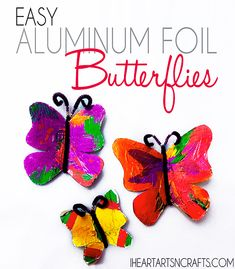 Easy Aluminum Foil Butterfly Kids Craft by Jackie Cravener Crafts For Kids To Make, Easy Crafts, Art For Kids, Arts And Crafts, Kids Crafts, Butterfly Kids, Butterfly Crafts, Diy Ribbon, Ribbon Crafts