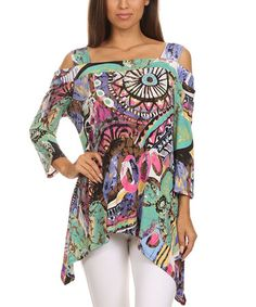 Loving this Purple & Teal Abstract Off-Shoulder Sidetail Tunic - Women & Plus on #zulily! #zulilyfinds