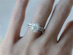 5X7mm Emerald Cut Moissanite Ring w/ Half Eternity by InOurStar
