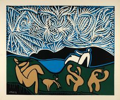 1962 Linocut Abstract Art Bacchanal Goat Music Picasso - ORIGINAL PIC1 - Period Paper