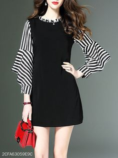 Round Neck Striped Bishop Sleeve Shift Dress Fashion girls, party dresses long dress for short Women, casual summer outfit ideas, party dresses Fashion Trends, Latest Fashion # Looks Teen, Bishop Sleeve, Cheap Dresses, Cheap Outfits, Casual Outfits, Buy Dress, Fashion Dresses, Clothes For Women, Women's Clothing