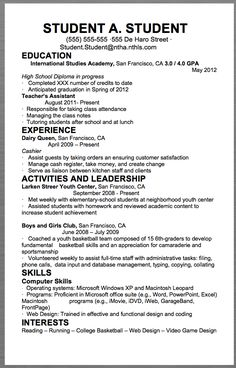 Sample Student Resume Example Resume For High School Students For College Applications