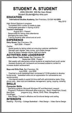 Resume writing for high school students internship