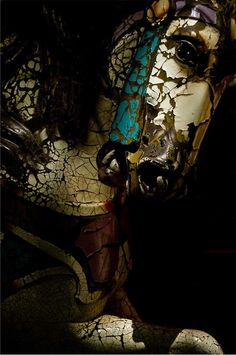 Aged peeling paint  rust covered carousel horse