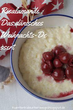 Rezept: Risalamande, das dänische Weihnachts-Dessert. Auf Küstenkidsunterwegs stelle ich Euch das Rezept für Risalamande vor , den klassischen Mandel-Milchreis, den es in Dänemark der Tradition nach mit heißen Kirschen als Nachtisch nach dem Weihnachtsessen gibt, samt dem Mandel-Geschenk, der Mandelgave.  #risalamande #dänemark #Rezept #dänisch #milchreis #mandel #geschenk #mandelmilchreis #tradition #weihnachten #wichtel #zutaten #zubereitung #jul