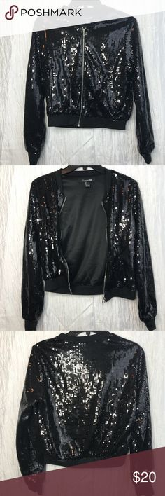 Forever21 Black Sequin Bomber Jacket Light Wright Forever21 Black Sequin Bomber Jacket Light Wright Zipper closure Super shiny Be a black disco ball wherever you go! Forever 21 Jackets & Coats
