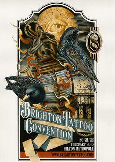 Artwork for Brighton Tattoo Convention, 2015 - by Emily Wood, Black Heart Tattoo, Epsom. Illustration Photo, Illustrations, Hilton Brighton, Text Design, Graphic Design, Emily Wood, Convention Tattoo, Black Heart Tattoos, Brighton Tattoo