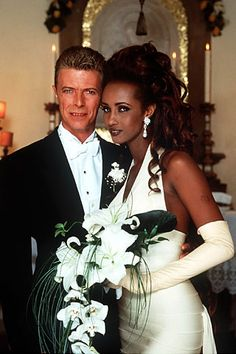 The Bowies on their wedding day