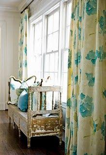Love these cream curtains for my future aqua living room