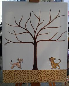 Lion King Fingerprint Guest Book Canvas by kraftymamaboutique, $49.99-idea for Ashley's shower- guests leaf the tree (thumbprint) & write name above it w/ fine point sharpie
