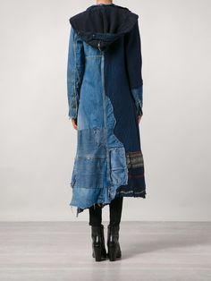 Single Breasted Coats for women at Farfetch. Fashion Now, Denim Fashion, Boho Fashion, Fashion Design, Estilo Jeans, Estilo Boho, Patchwork Denim, Recycle Old Clothes, Denim Ideas