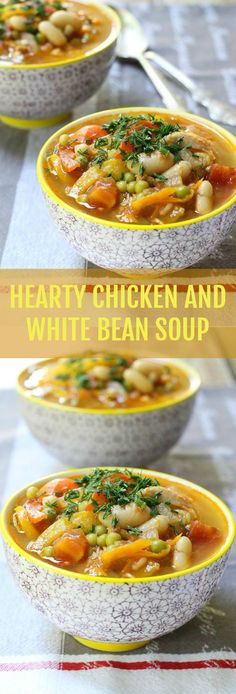 This Hearty Chicken and White Bean Soup is really easy to prepare, healthy, filling and comforting. Make a big batch and you are set for the whole week.
