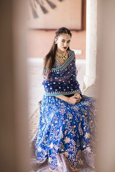 Stunning indigo blue gotapatti lehenga with matching dupatta by Anita Dongre Indian Wedding Outfits, Pakistani Outfits, Indian Outfits, Indian Clothes, Indian Weddings, Pakistani Bridal, Bridal Lehenga, Indian Bridal, Blue Bridal