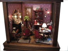 So cozy looking Vitrine Miniature, Miniature Rooms, Miniature Houses, Miniature Furniture, Dollhouse Furniture, Dollhouse Interiors, Movie Decor, Fantasy House, Small World