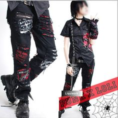 Cyberpunk Punk Rock Rocker Emo Clothes Pants for Men Women