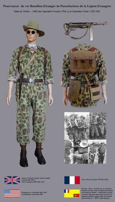 Pourvoyeur du 1er BEP, Bataillon Etranger de Parachutistes de la Légion Etrangère (collection personnelle). Delta du Tonkin 1950. Le 1er BEP perçu les MP40 en Mai 1950 comme l'attestent les photos d'époque. Des anciens Fallschirmjägers et de la Wehrmacht composaient l'effectif du 1er BEP entre mars 1948 et octobre 1950 (35%). Les photos d'époque confirment le port de boucles Luftwaffe et Heer par certains légionnaires.