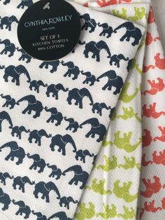 SET OF 3 KITCHEN TEA DISH TOWELS Navy Lime Red Elephant by CYNTHIA ROWLEY NEW #CynthiaRowley