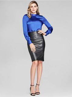 Shira Long-Sleeve Top at Guess Sexy Skirt, Dress Skirt, Black Leather Pencil Skirt, Hobble Skirt, Pencil Skirt Outfits, Night Dress For Women, Satin Blouses, Leather Dresses, Beautiful Blouses