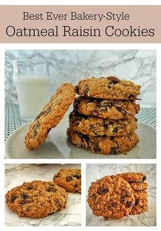 Big, delicious, bakery-style Oatmeal Raisin Cookies that are soft yet chewy, loaded with plump raisins, warm spices & a touch of molasses. Oatmeal Rasin Cookies, Raisin Cookie Recipe, Cookie Recipes, Dessert Recipes, Baking Recipes, Oatmeal Cake, Sweet Desserts, Baking Ideas, Delicious Desserts