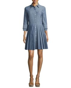 Button-Front+Double-Cuff+Shirtdress,+Sky+by+Michael+Kors+Collection+at+Neiman+Marcus.