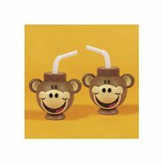Amazon.com: Plastic Monkey Head-Shaped Cups With Straws (1 dz)