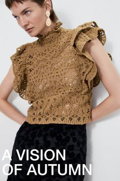 ZARA - Female - Textured ruffled top - Taupe brown - S Crochet Fabric, Knit Crochet, Crochet Clothes, Diy Clothes, Fancy Blouse Designs, Knitwear, Knitting, Outfits, Online Zara