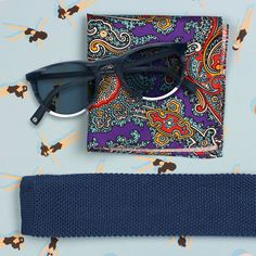 Paisley Pocket Square and Knit Tie and Warby Parker sunglasses.