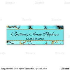 Turquoise and Gold Pyrite Graduation Name Insert Pack Of Skinny Business Cards