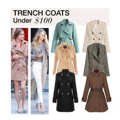 """Under $100: Trench Coats"" by polyvore-editorial ❤ liked on Polyvore featuring H&M, Chicwish, women's clothing, women, female, woman, misses, juniors, TrenchCoats and under100"