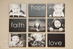 Familienfotos mit Idee Dekoration glauben hoffen lieben