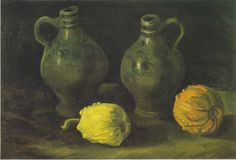 Vincent Van Gogh - Still Life with Two Jars and Two Pumpkins, 1885