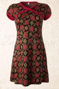 Blutsgeschwister - 50s Black Floral Magic Dress
