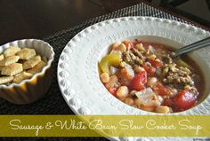 Sausage & White Bean Slow Cooker Soup - another great meal to put in the freezer!