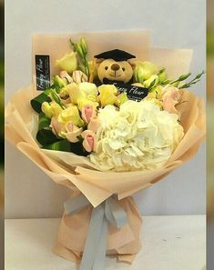 Handmade Yankee Candle Flower Bouquet Unisex Baby Yellow And Grey Roses Gift