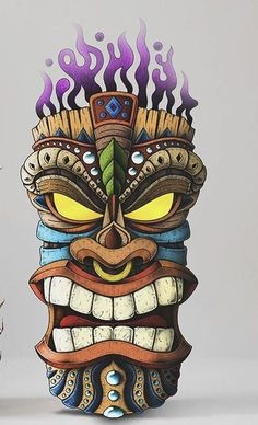 When it's time to light the Tiki Torches it's time to party the night away. Tiki Tattoo, Totem Tattoo, Cartoon Kunst, Cartoon Art, Totem Tiki, Tiki Maske, Tiki Head, Tiki Art, Tiki Tiki