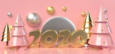 Gold Text 2020 Surrounded By Pink And Gold Christmas Trees And Gift Boxes On A Pink Background Free Christmas Backgrounds, Christmas Background Images, Pink Background Images, Minimal Background, Yellow Background, Christmas Tree With Gifts, Gold Christmas Tree, Christmas Frames, Christmas Tree Painting