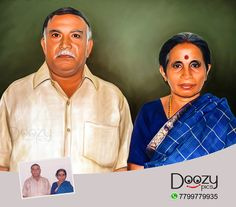 Gift your parents a beautiful Portrait Painting and surprise them ❤️❤️❤️ Done by our professional Artists👆 Photo to art Starting at just 450/- For orders visit www.doozypics.com For Quicker response reach us @ whats app: 7799779935 Portrait Ideas, Portraits, Photo To Art, Photo Restoration, Photo Retouching, Online Gifts, Online Art, First Love, Photo Gifts