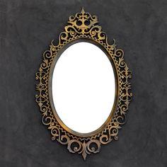 Ornate Black Gold Mirror - Oval Mirror - Iron Gate Style - Victorian - Hollywood Regency - Goth - Vintage Burwood by TheCherryAttic on Etsy