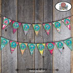 Carnival Party - Circus Birthday - Bunting Banner - Printable - A La Carte - Pink - Blue - Yellow (Vintage Inspired, Big Top, Girl)
