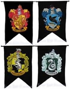 Harry Potter HOUSE WALL 4 BANNER SET Ravenclaw Slytherin Hufflepuff ...
