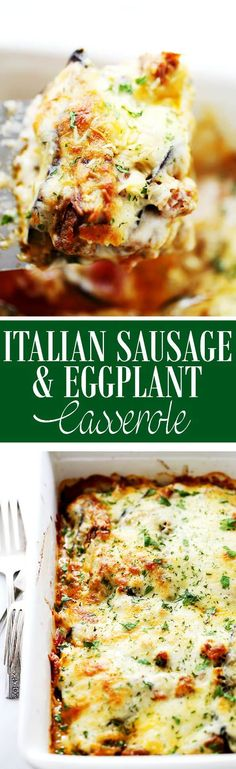 Italian Sausage and Eggplant Casserole - Layers of delicious Italian sausage and eggplant slices covered in white (Bechamel) sauce and gooey cheese. Eggplant Casserole Recipe, Casserole Recipes, Mini Eggplant Recipe, Italian Eggplant Recipes, Pork Recipes, Low Carb Recipes, Cooking Recipes, Recipies, Shrimp Recipes
