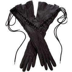 ANN DEMEULEMEESTER Lace Up Leather Glove ($470) ❤ liked on Polyvore featuring accessories, gloves, steampunk, women, lace up gloves, ann demeulemeester, long gloves, long leather gloves and steampunk gloves