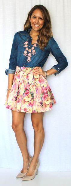 Love the chambray + floral skirt combo!