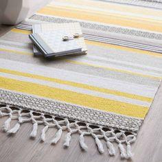 Gestreifter Teppich Aus Baumwolle, Gelb/grau, 60 X 100 Cm PORTO ähnliche  Tolle